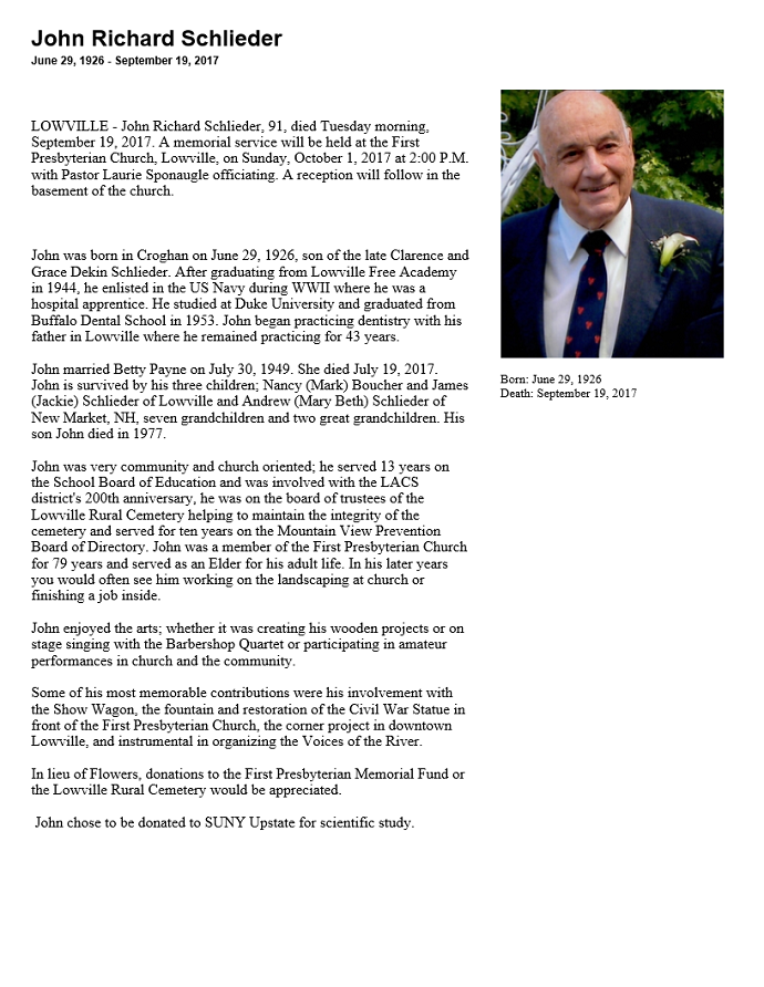 obituary john r schlieder 91 lowville